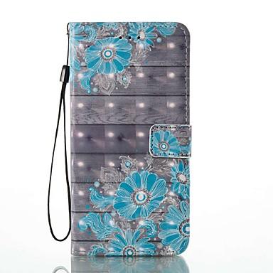 Capinha Para Apple iPhone 8 iPhone 8 Plus Porta-Cartão Carteira Com Suporte Flip Estampada Capa Proteção Completa Flor Rígida PU Leather