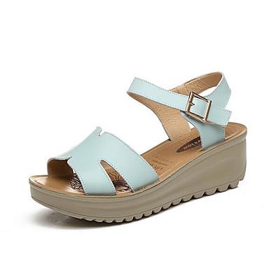 Naiset Sandaalit Nahka Kevät Musta Beesi Vaalean sininen Tasapohja