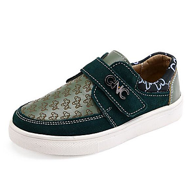 Jungen Schuhe Leder Frühling Herbst Komfort Sneakers Walking Niedriger Absatz Runde Zehe Klettverschluss Für Normal Beige Grün