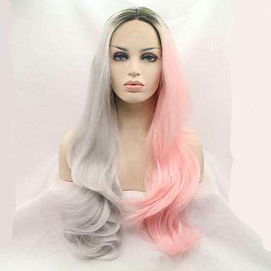 Ženy Syntetické paruky Se síťovanou přední částí Dlouhý Rovné Růžová Přírodní vlasová linie Přírodní paruka Kostýmová paruka