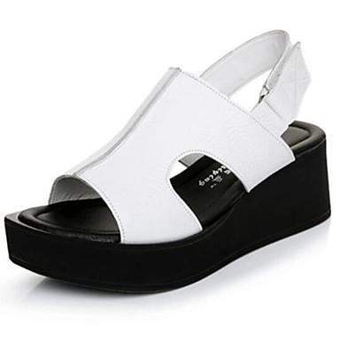 Damen Schuhe Leder Frühling Creepers Komfort Sandalen Für Normal Weiß Schwarz Rot