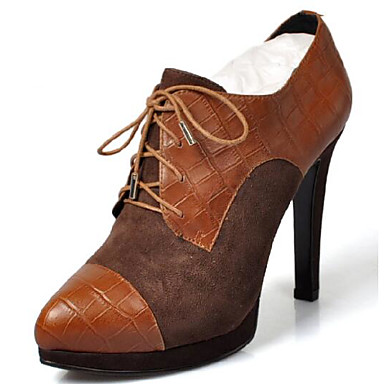 Damen Schuhe Leder PU Frühling Komfort High Heels Für Normal Braun Rot