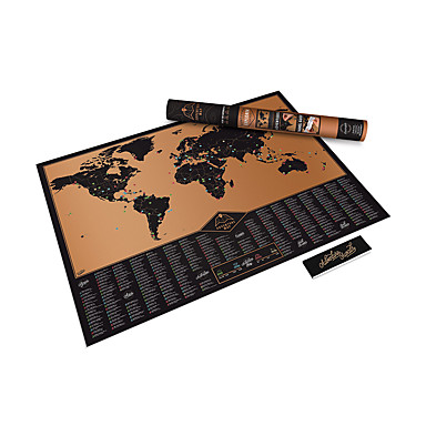 Scratch Off World Map Poster with US States and Country Flags Track Your Adventures. Includes Scratcher and Memory Notebook Perfect for Travelers