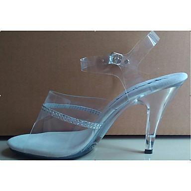 Mulheres Sapatos Gliter PVC Verão Outono Saltos Salto Agulha Salto Alto de Cristal Pedrarias Cristais para Branco