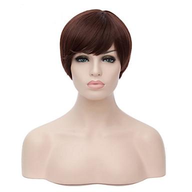 Cabelo Sintético perucas Reto Peruca Natural Curto Marrom