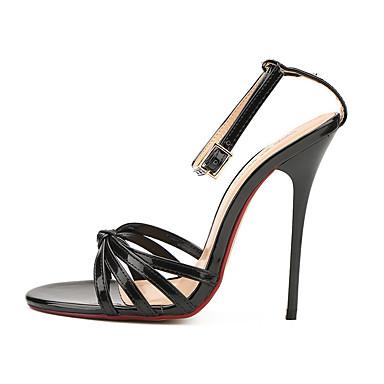 Mulheres Sapatos Couro Ecológico Verão Outono Chanel Plataforma Básica Sandálias Salto Agulha Ponta Redonda para Festas & Noite Branco