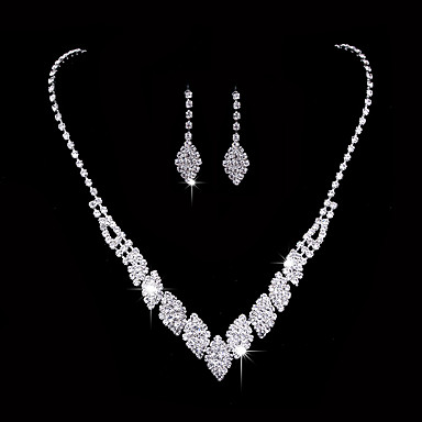 Women's AAA Cubic Zirconia Jewelry Set - Cubic Zirconia, Silver Luxury, Fashion, Elegant Include Drop Earrings Choker Necklace Bridal Jewelry Sets Silver For Wedding Party Anniversary / Engagement