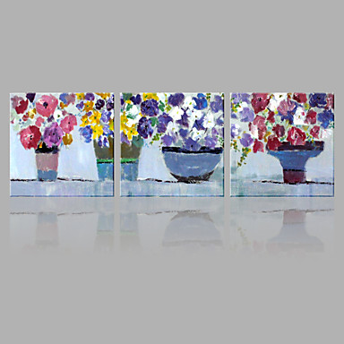 Pintados à mão Floral/Botânico Panorâmico vertical, Abstracto Tela de pintura Pintura a Óleo Decoração para casa 3 Painéis
