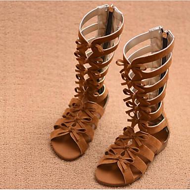 Tyttöjen kengät PU Kevät Syksy Ensikengät Sandaalit Tarranauhalla varten Kausaliteetti Musta Ruskea