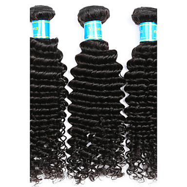 3 Bundles Vietnamese Hair Curly / Deep Wave Virgin Human Hair Natural Color Hair Weaves / Hair Bulk Human Hair Weaves Human Hair Extensions