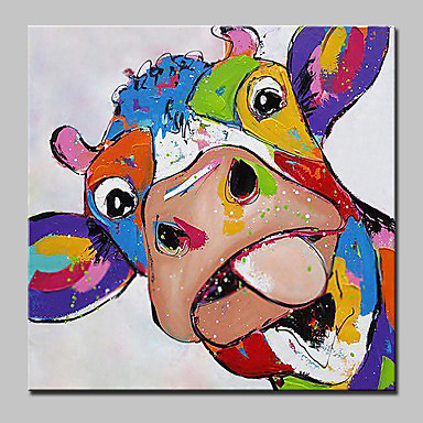Pintura a Óleo Pintados à mão - Animais Moderno / Contemporâneo Incluir moldura interna / Lona esticada