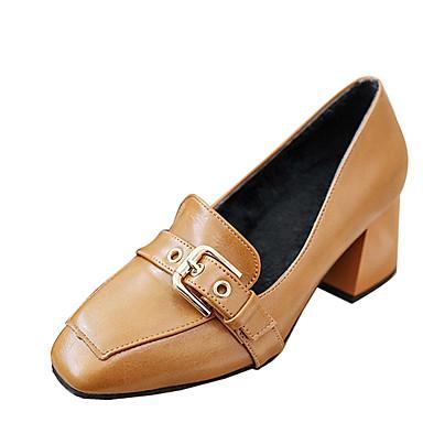 Mulheres Sapatos Courino Verão Outono Mocassins e Slip-Ons Salto Robusto Ponta quadrada Presilha para Preto Amarelo Verde Tropa