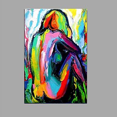 Pintados à mão Vertical, Abstracto Tela de pintura Pintura a Óleo Decoração para casa 1 Painel
