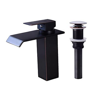 Faucet Set - Cascata Bronze Polido a Óleo Conjunto Central Monocomando e Uma Abertura