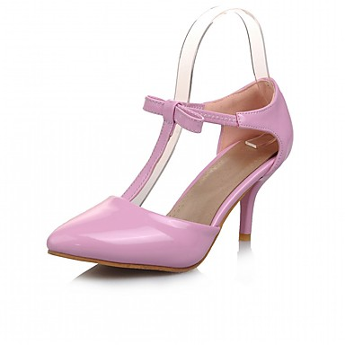 Mulheres Sapatos Couro Ecológico Courino Verão Outono Sapatos formais Inovador Conforto Saltos Caminhada Salto Agulha Dedo Apontado Laço