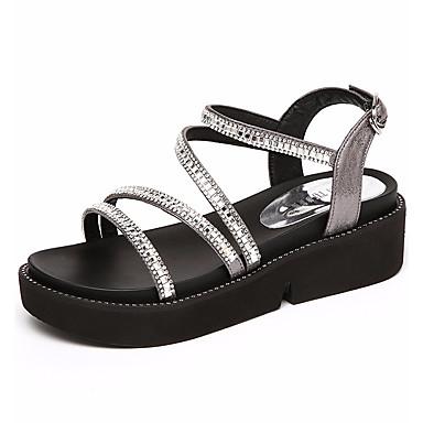 Naiset Kengät Synteettinen Kesä Comfort Sandaalit Kiilakorko Pyöreä kärkinen Käyttötarkoitus Musta