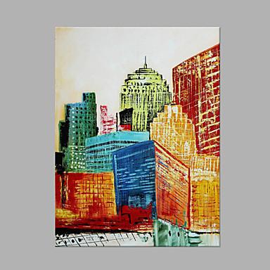 Pintados à mão Arquitetura Panorâmico vertical, Artistíco Abstracto Tela de pintura Pintura a Óleo Decoração para casa 1 Painel