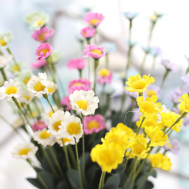5 deler 5 Gren Silke Polyester Kurvplante Bordblomst Kunstige blomster