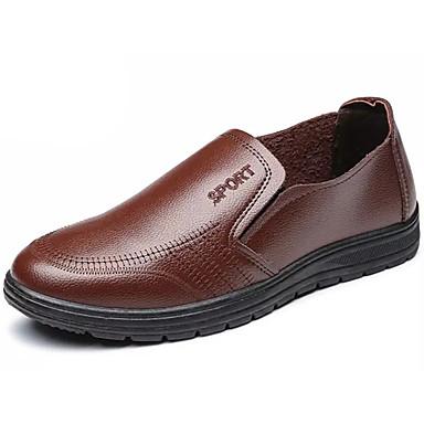 Homens sapatos Couro Ecológico Primavera Outono Solados com Luzes Conforto Mocassins e Slip-Ons para Festas & Noite Preto Marron