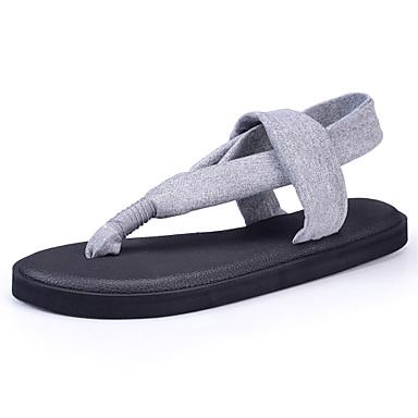 Mulheres Sapatos Tecido Primavera Verão Solados com Luzes Chinelos e flip-flops Caminhada Sem Salto para Casual Cinzento