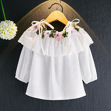 Girls' Floral Blouse, Rayon Spring Fall Long Sleeves Floral White