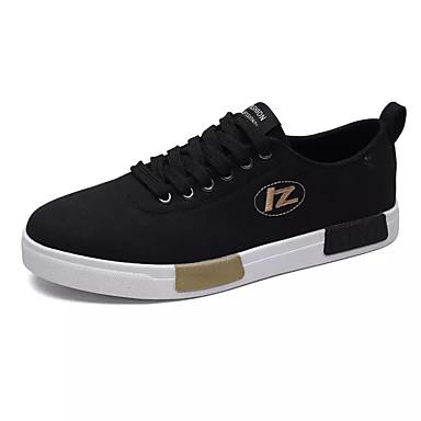 Homens sapatos Lona Primavera Outono Conforto Tênis Cadarço para Casual Branco Preto Branco / Preto
