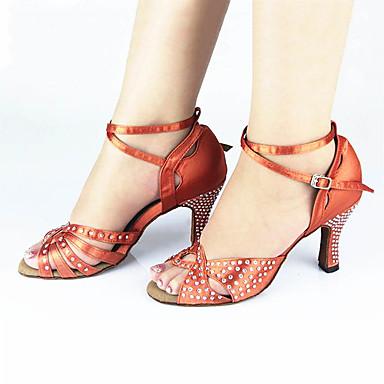 Women's Latin Silk Sandal Sneaker Professional Rhinestone Buckle Stiletto Heel Brown 2