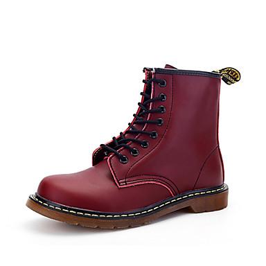 Men's Combat Boots Leather Fall / Winter Comfort Boots Walking Shoes Black / Dark Brown / Burgundy