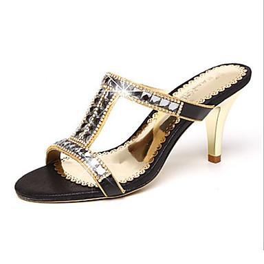 Naisten Kengät Synteettinen mikrokuitu PU Kesä Syksy Uutuus Comfort Sandaalit Kävely Stilettikorko Avokkaat Tekojalokivi varten