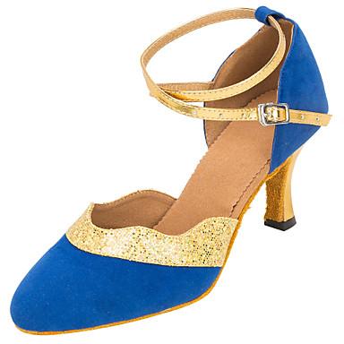 Női Modern cipők Gyapjú Szandál Cakkos Kubai sarok Személyre szabható Dance Shoes Fekete / Kék / Teljesítmény
