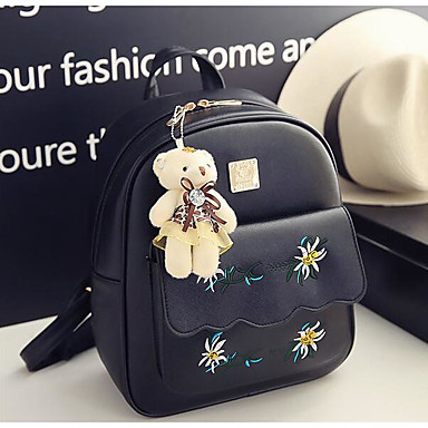 Women Bags All Seasons PU Backpack for Casual White Black Blushing Pink