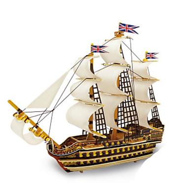 Quebra-Cabeças 3D Quebra-Cabeças de Metal Modelos de madeira Brinquedos de Montar Barco de Guerra Faça Você Mesmo Madeira Natural Clássico