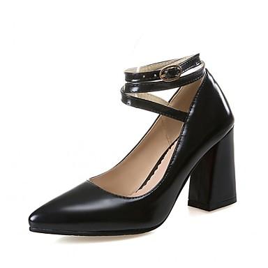 Mulheres Sapatos Couro Ecológico Sintético Verão Outono Inovador Conforto Saltos Caminhada Salto Robusto Dedo Apontado Presilha para