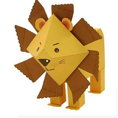 Quebra-Cabeças 3D Maquetes de Papel Artesanato de Papel Brinquedos de Montar Leão Animais Faça Você Mesmo Clássico Desenho Crianças