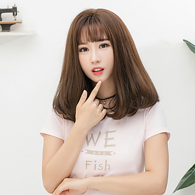 Synthetic Wig Straight Bob Haircut / With Bangs Synthetic Hair Brown / Gray Wig Women's Medium Length Capless