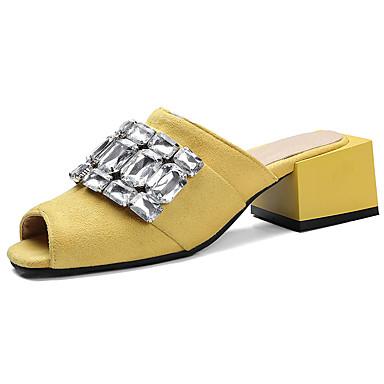 Mulheres Sapatos Couro Ecológico Verão Conforto Solados com Luzes Chinelos e flip-flops Salto de bloco Peep Toe Gliter com Brilho para