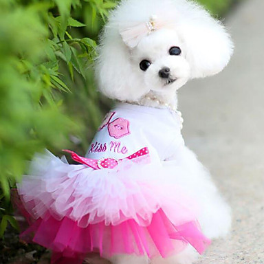 Dog Dress Dog Clothes Princess Blue Pink Chiffon Cotton Costume For Pets Men's Women's Casual/Daily