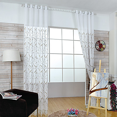 Sheer Curtains Shades Sala de Estar Bordado Bordado