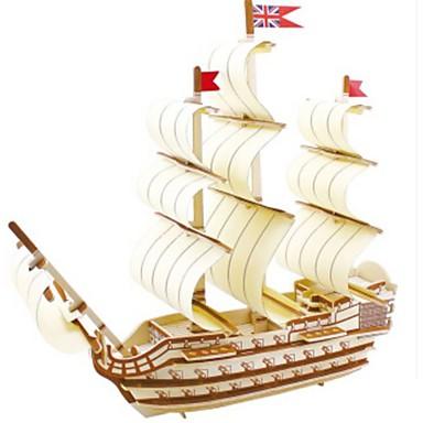 3D építőjátékok Fejtörő Wood Model Hadihajó Hajó DIY Fa Gyermek Uniszex Ajándék
