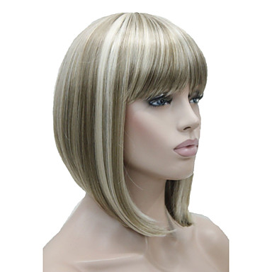 Synthetic Wig Straight Blonde Bob Haircut / With Bangs Synthetic Hair Blonde Wig Women's Short Capless