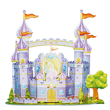 3D Puzzles Jigsaw Puzzle Model Building Kit Castle Famous buildings Architecture 3D DIY Card Paper Classic Cartoon 6 Years Old and Above