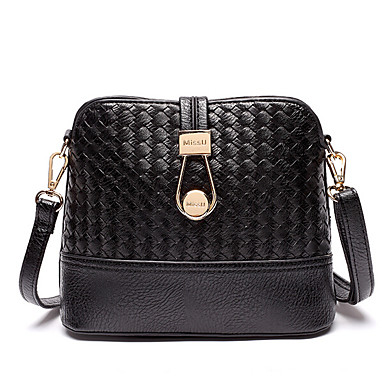 Women Shoulder Bag PU All Seasons Square Zipper Black