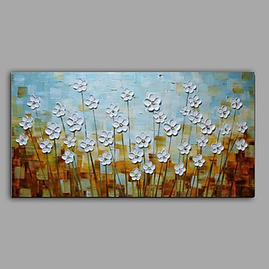 Oil Painting Hand Painted - Floral / Botanical Abstract Pastoral Canvas