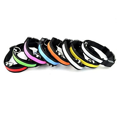 Cat Dog Collar Reflective Portable Safety Solid Nylon Red Green Blue Pink Rainbow