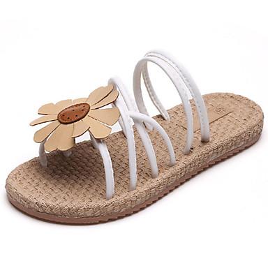 Mulheres Sapatos Couro Ecológico Verão Conforto Solados com Luzes Sandálias Sem Salto Dedo Aberto Flor para Social Branco Preto Verde