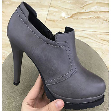 Naiset Kengät PU Kevät Comfort Bootsit Kanssa Käyttötarkoitus Kausaliteetti Harmaa Purppura Punainen