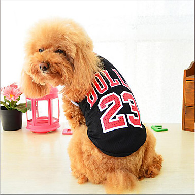 Cat Dog Vest Dog Clothes Letter & Number Black Red Cotton Costume For Pets Summer Men's Women's Casual / Daily