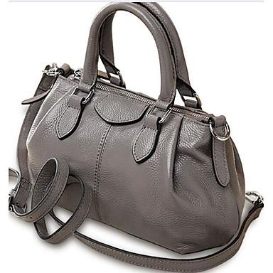 Women Shoulder Bag Cowhide All Seasons Casual Outdoor Round Zipper Blue Gray
