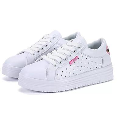 Naiset Lenkkitossut Comfort PU Kevät Kesä Kausaliteetti Kävely Comfort Solmittavat TasapohjaVaaleanpunainen ja valkoinen Valkoinen ja