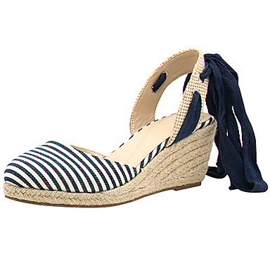 Women's Shoes Linen Spring Summer Light Soles D'Orsay & Two-Piece Sandals Wedge Heel Closed Toe Lace-up for Casual Outdoor Dress Blue